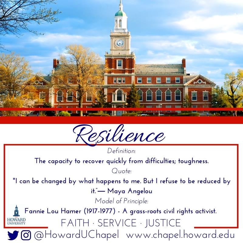 Howard University, Andrew Rankin Memorial Chapel, Resilience, Faith Service Justice, FSJ, Leader, Howard University