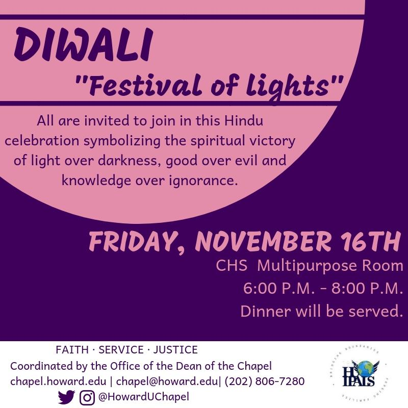 Diwali, Interfaith, Interfaith Programming, Howard University, Andrew Rankin Memorial Chapel, Office of the Dean of the Chapel