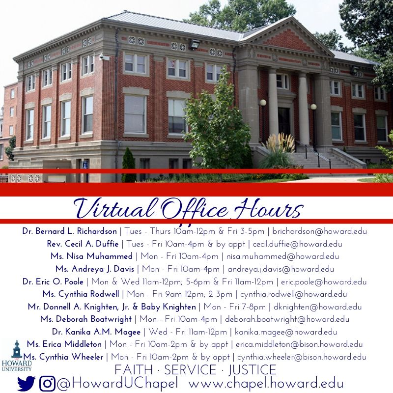 Howard University, Andrew Rankin Memorial Chapel, Student Leadership, Faith Service Justice, FSJ, Leader, Howard University, Virtual Office Hours